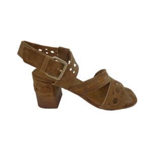 Sandalias de vestir para mujer de marca Valery Alpe color cuero.